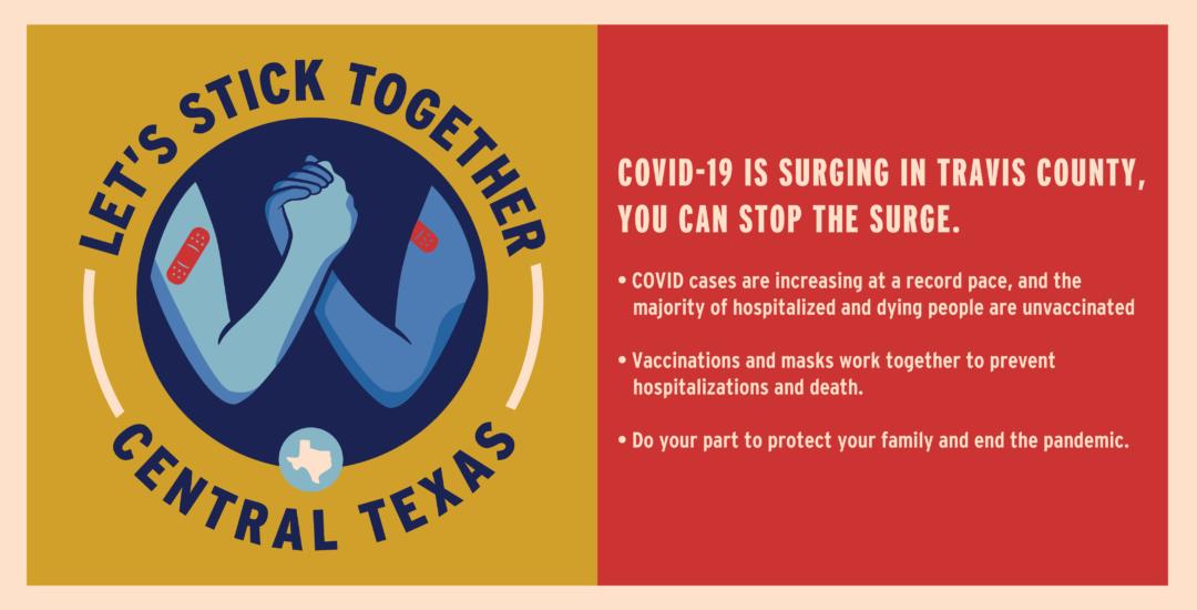 Let's Stick Together Banner - visit /vaccine for more information.
